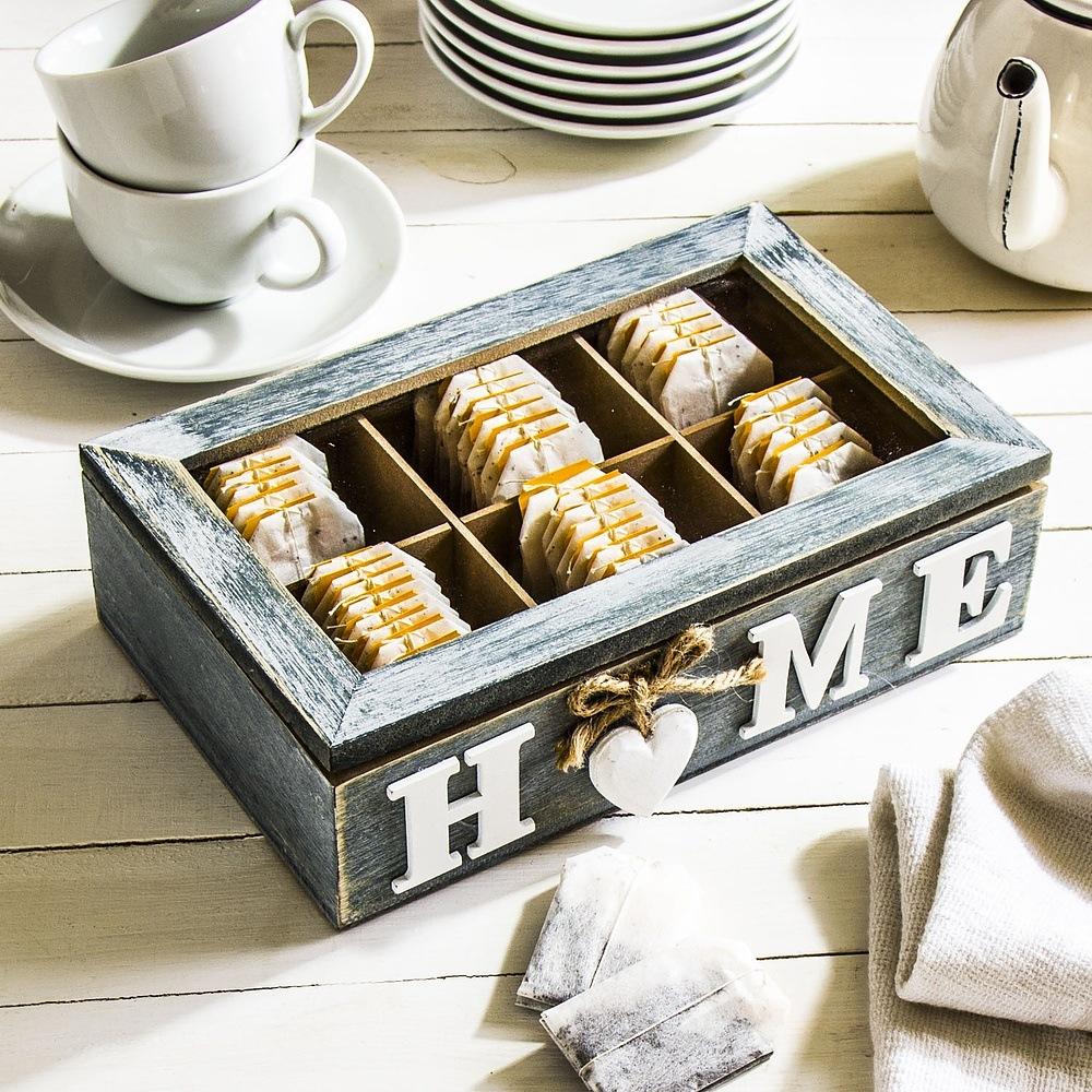 Skrzynka na herbatę drewniana Home