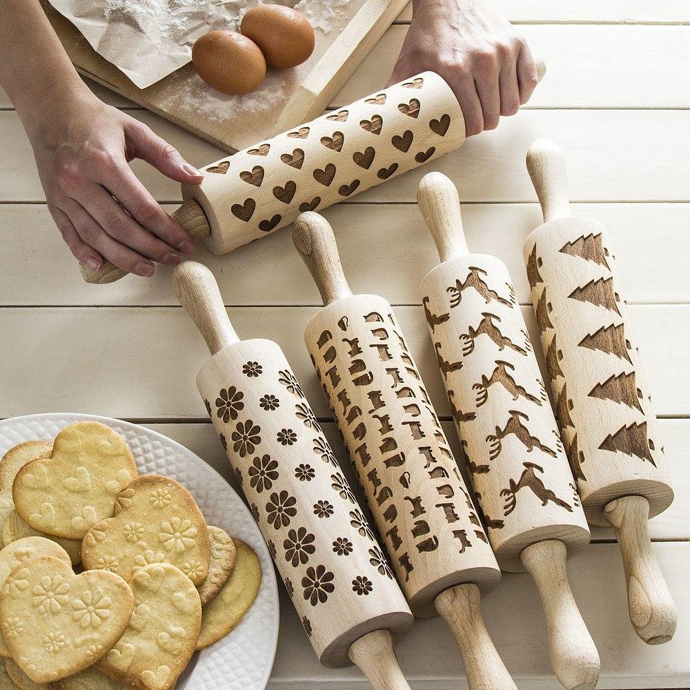 Wałki dekoracyjne do ciasta drewniane
