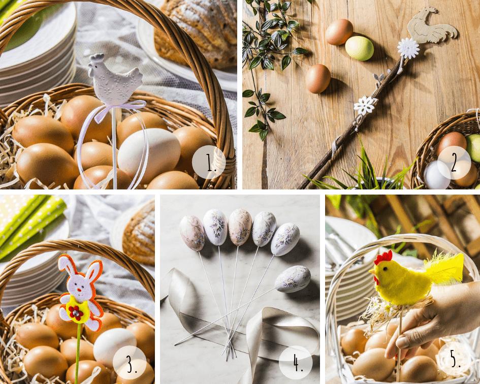 Dekoracje koszyczka na Wielkanoc