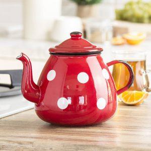 Emaliowany dzbanek do herbaty Olkusz