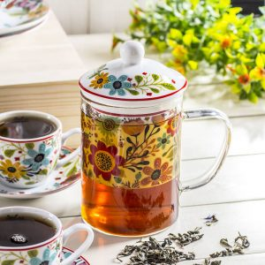 Szklany kubek z zaparzaczem do herbaty Duo Flowe