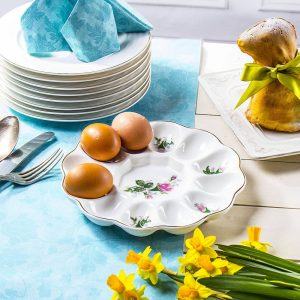 Porcelanowy talerz na jajka Różyczka