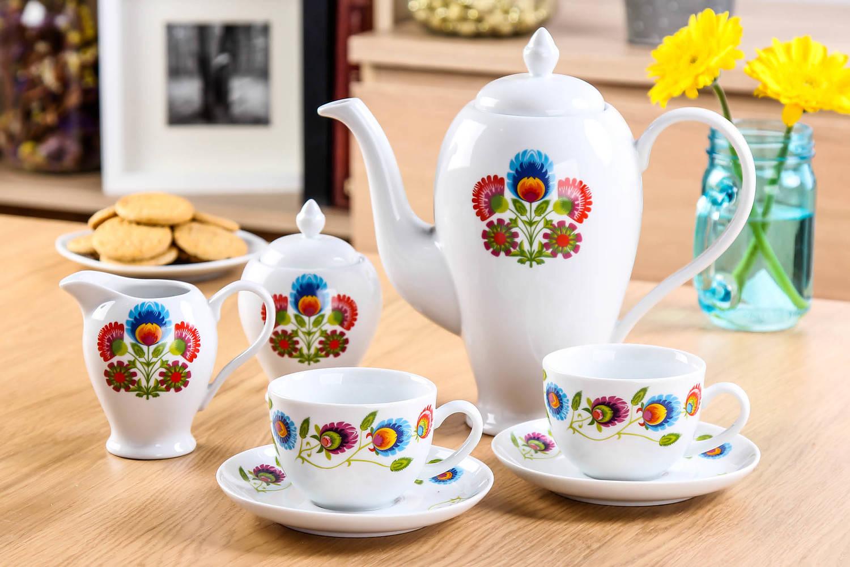 Serwis do kawy etno Ceramika Tułowice