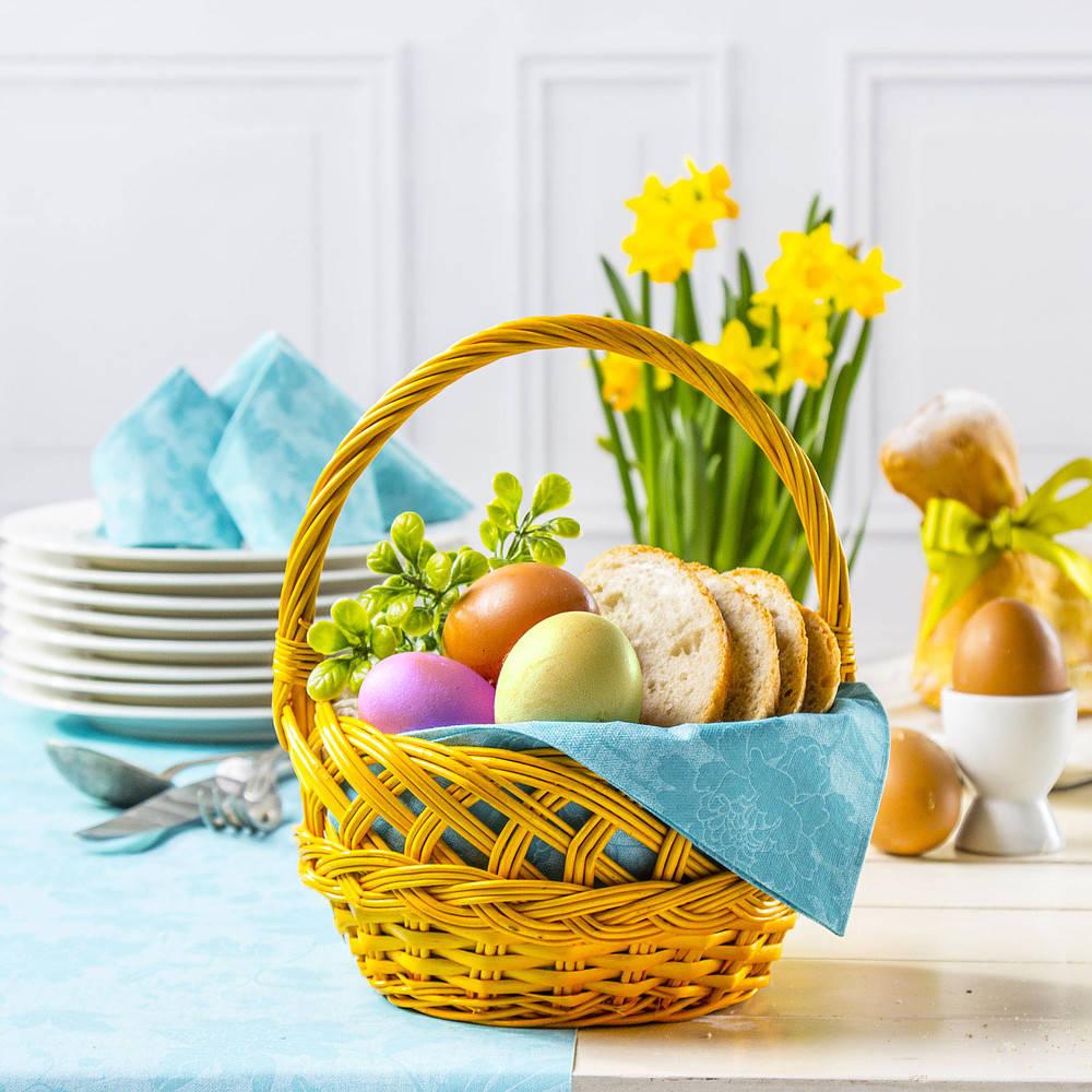 c8293062bb53b Świąteczny koszyk w żółtym kolorze to radosny akcent Wielkanocnych Świąt!