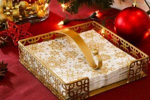 Złoty serwetnik metalowy Paw