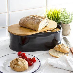 Chlebak metalowy z deską do krojenia Carlo