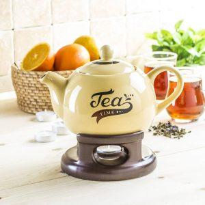 Dzbanek porcelanowy do herbaty z podgrzewaczem Tea Time