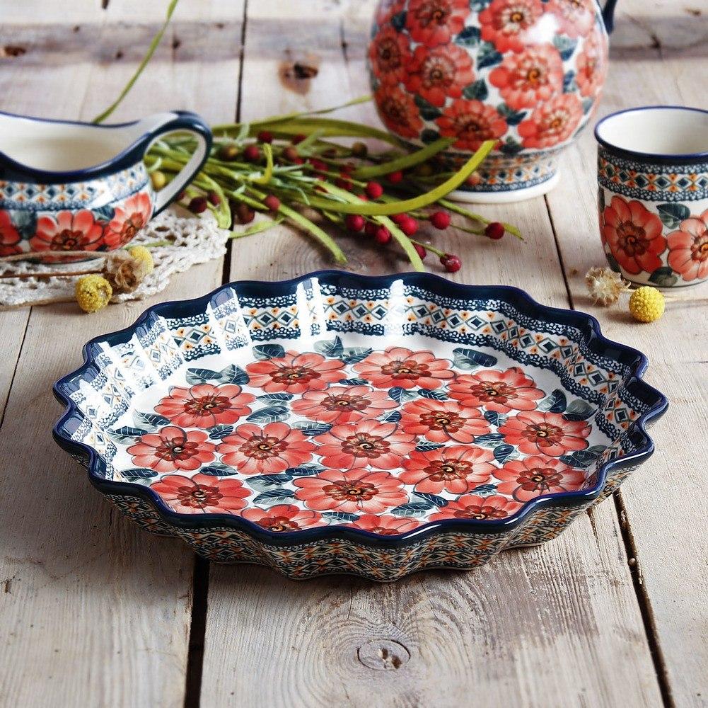 Forma do pieczenia tarty ceramiczna Bolesławiec