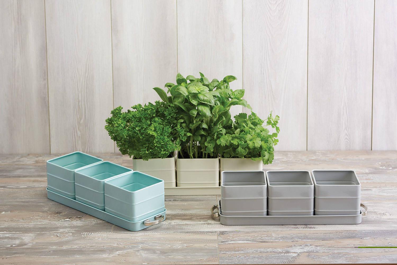 Stalowe doniczki na zioła z podstawką Kitchen Craft