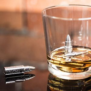 Metalowe kostki do whisky pociski