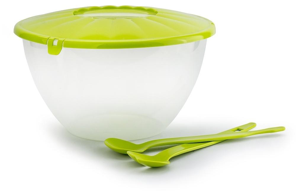 Miska plastikowa ze sztućcami do sałatek
