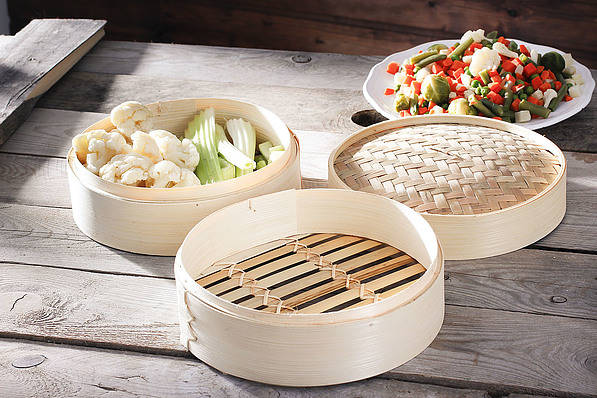 Pojemnik bambusowy do gotowania na parze