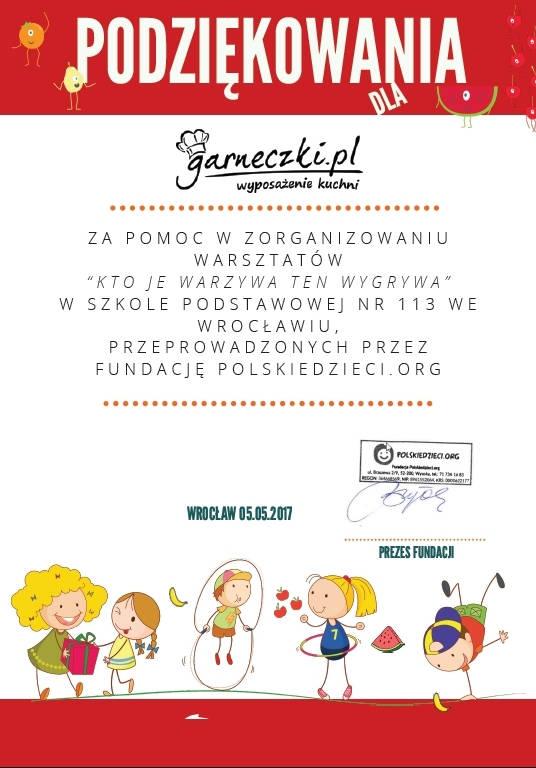 Podziękowania dla Garneczki.pl