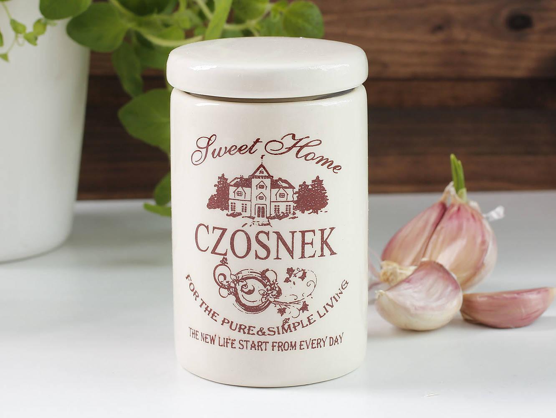 Pojemnik z ceramiki na czosnek Sweet Home