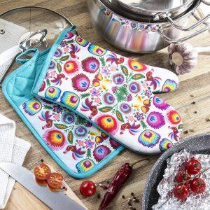 Rękawica i łapka kuchenna Folkowe wzory