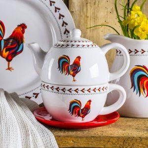 Ceramiczny dbanek do herbaty Dumny Kogucik