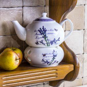 Dzbanek do zaparzania herbaty z podgrzewaczem Lavender