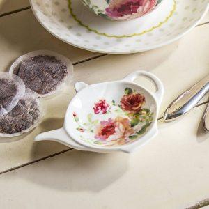 Podkładka porcelanowa na torebkę od herbaty Róża