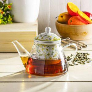 Szklany dzbanek z zaparzaczem do herbaty Duo Zioła