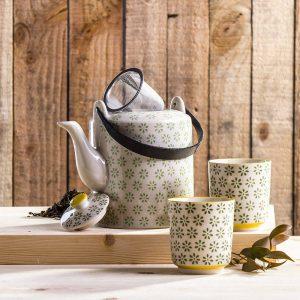 Dzbanek i czarki do parzenia herbaty Duo Flowers