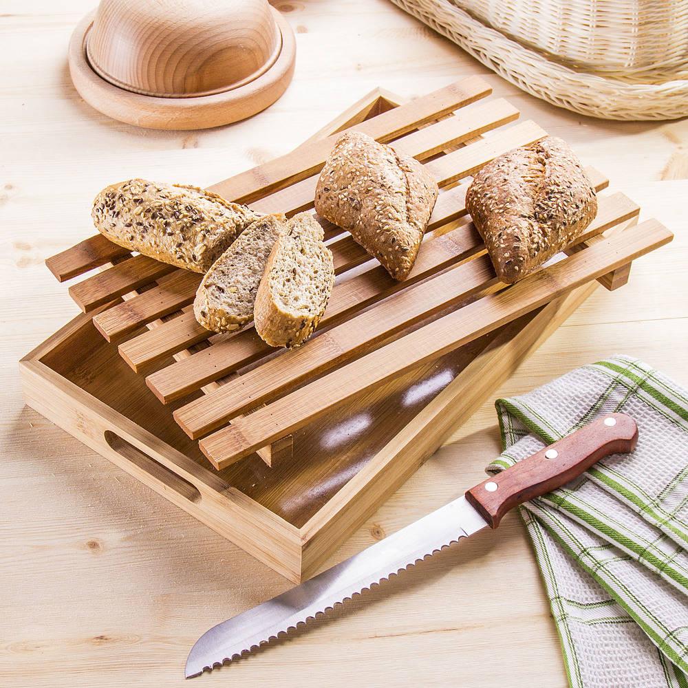 Bambusowa deska do krojenia chleba z pojemnikiem