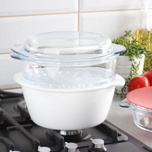 Ceramiczny garnek do gotowania na parze Pyrex