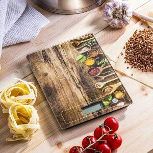 Waga kuchenna elektroniczna szklana Wood