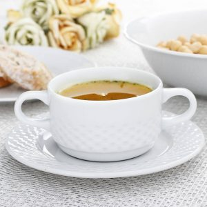 Bulionówka na zupę porcelanowa ze spodkiem Harmonia