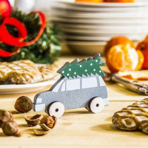 dekoracja świąteczna drewniana samochód