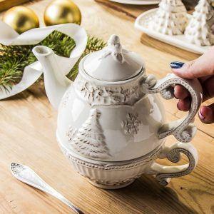 Dzbanek do herbaty i kawy ceramiczny z zaparzaczem