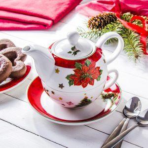 Dzbanek do herbaty i kawy porcelanowy z zaparzaczem i filiżanką MERRY CHRISTMAS