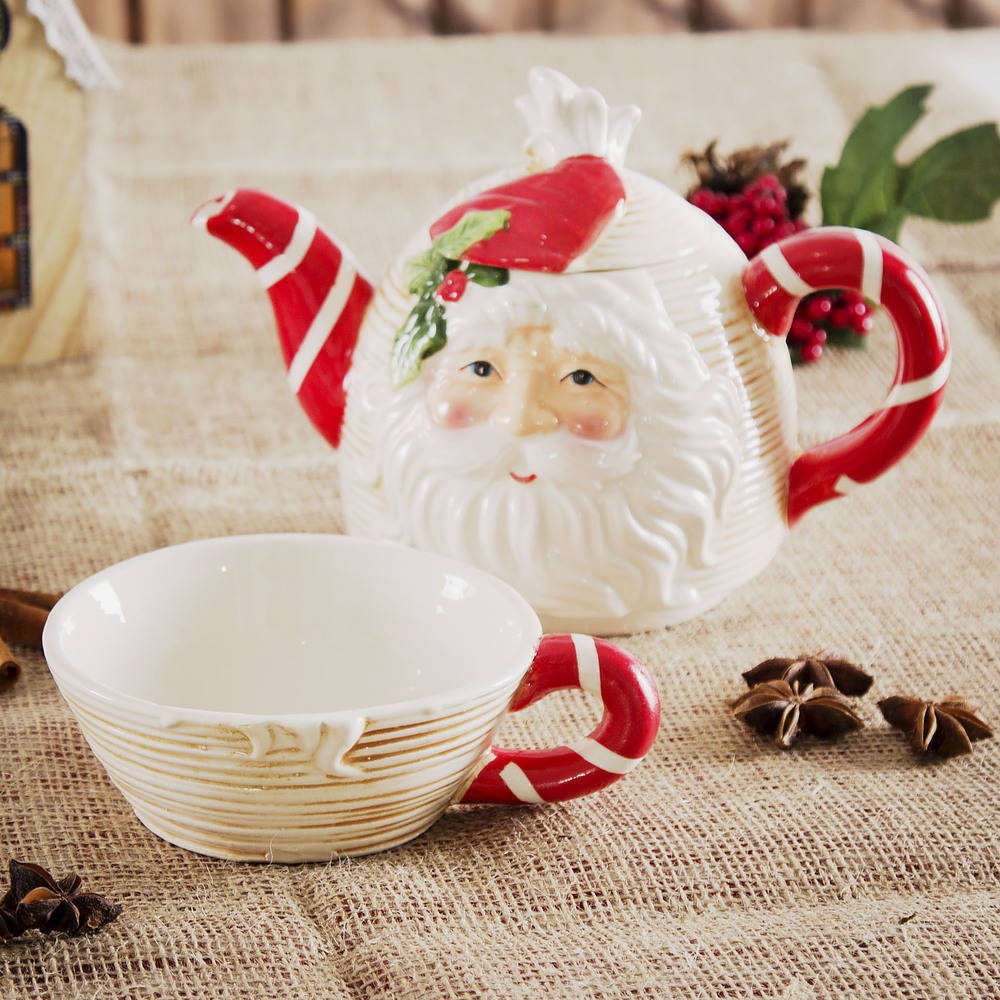 Dzbanek do herbaty z filiżanką Święty Mikołaj