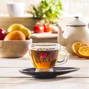 Filiżanka do kawy i herbaty szklana ze spodkiem GLASMARK