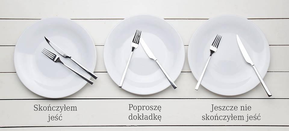 Ułożenie sztućców na stole infografika