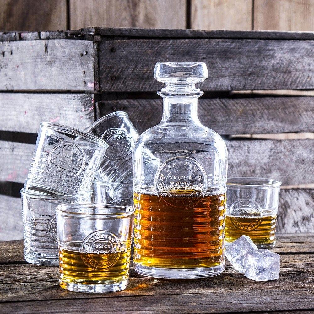 Karafka do whisky szklana ze szklankami Rocci