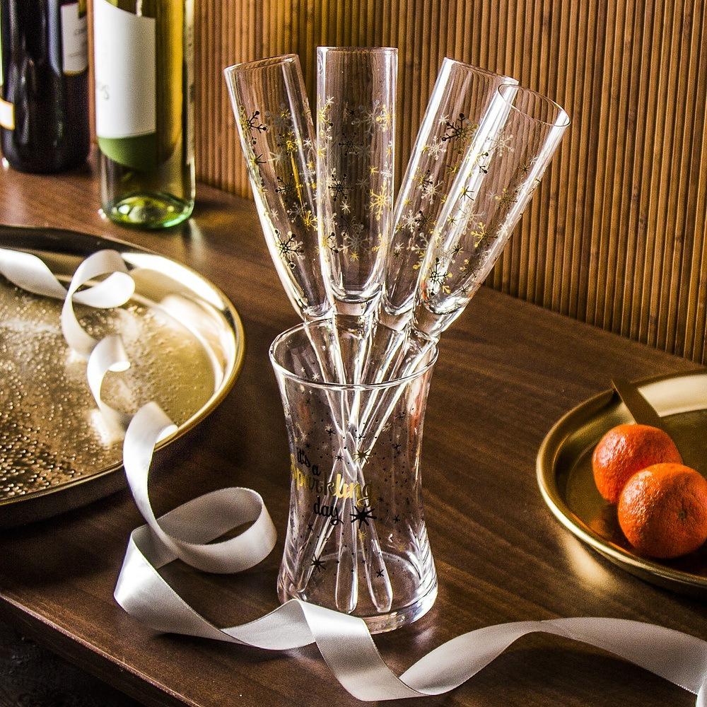 Kieliszki do szampana szklane w wazonie Excellent