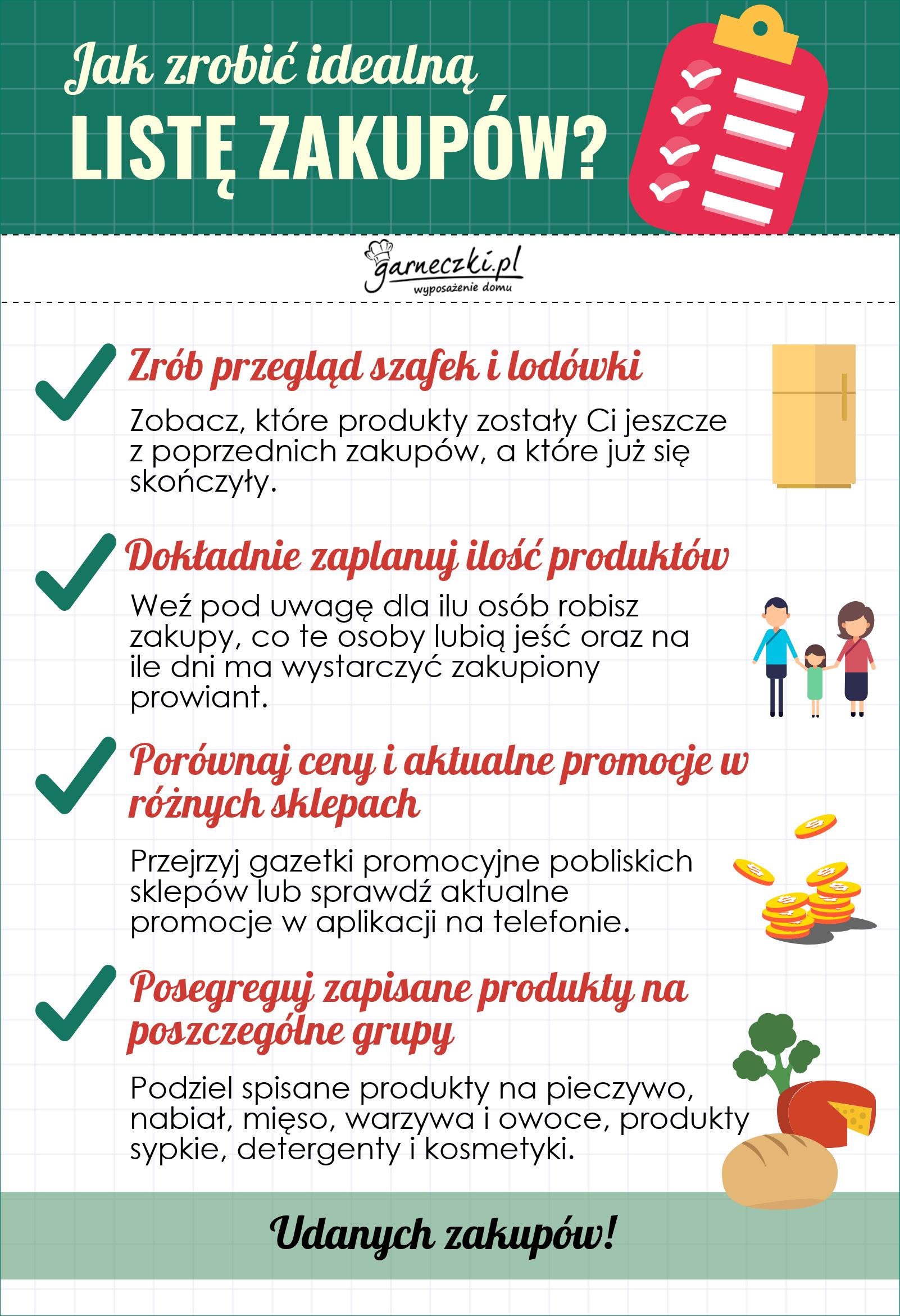 Jak zrobić idealną listę zakupów? Infografika