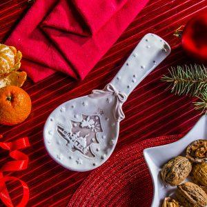 Ceramiczna podstawka pod łyżkę Choinka