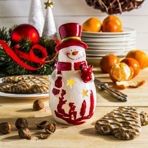 Świecznik tealight ceramiczny Bałwan