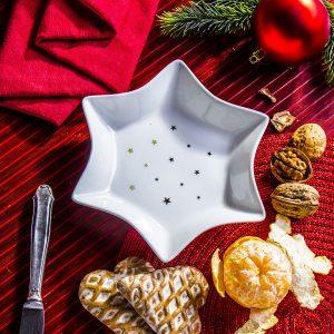 Talerz dekoracyjny ceramiczny Gwiazdka