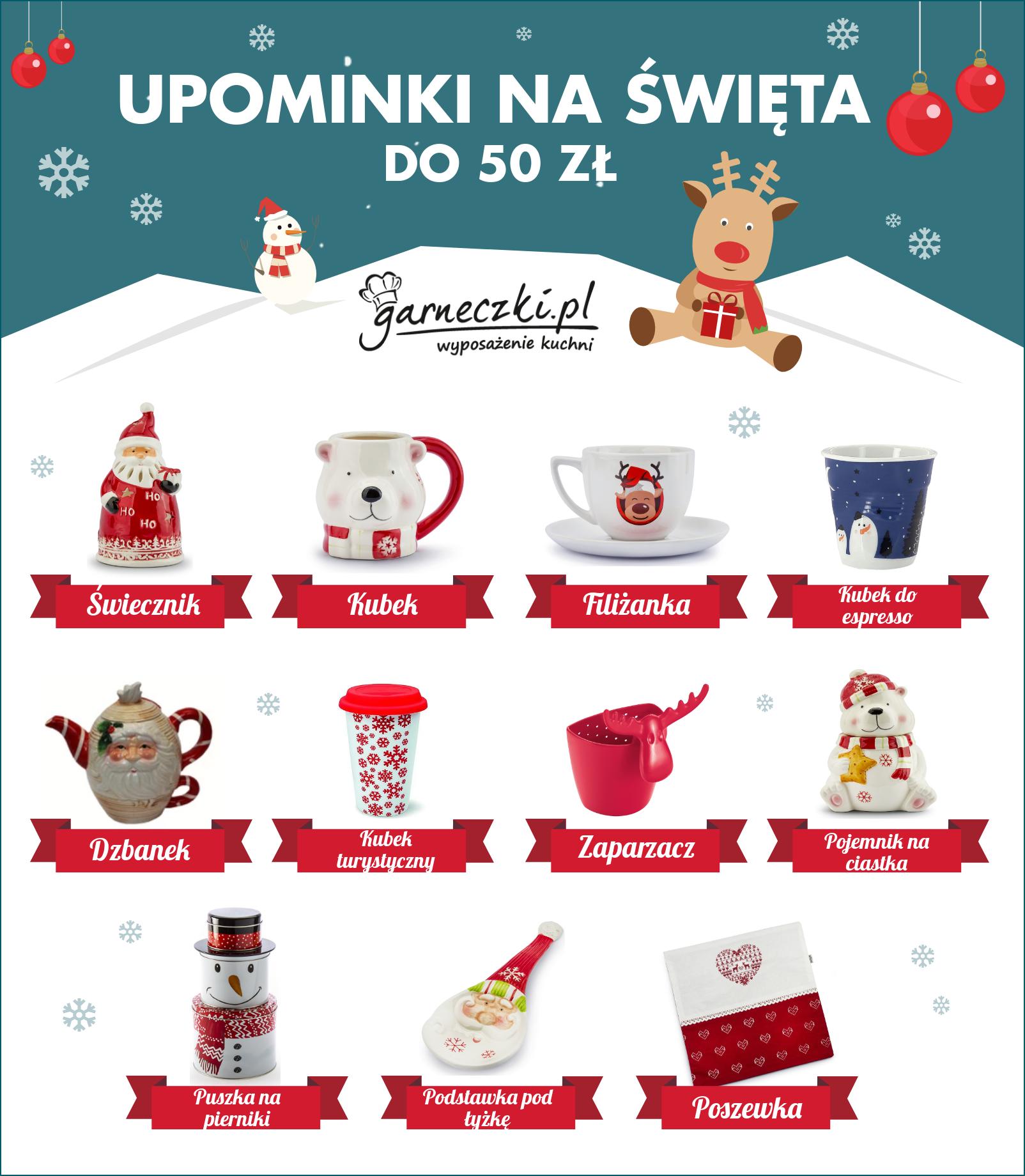 Upominki do 50 zł na święta - infografika
