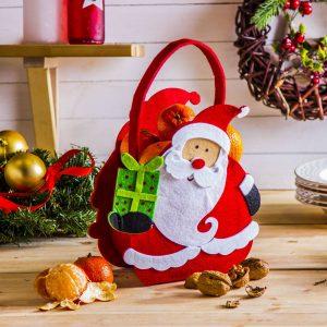 Torebka świąteczna z filcu Mikołaj