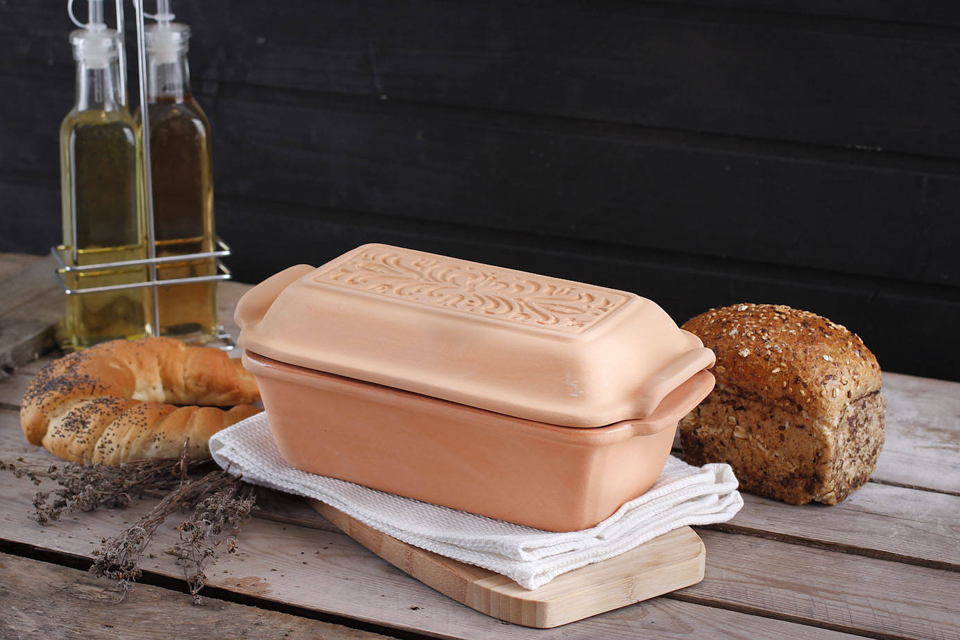 forma gliniana do chleba z pokrywką pataki keramia