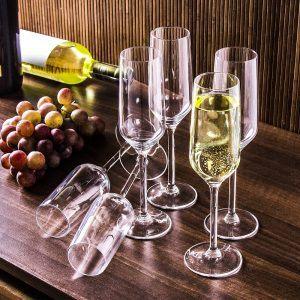 Kieliszki do szampana szklane Rubin
