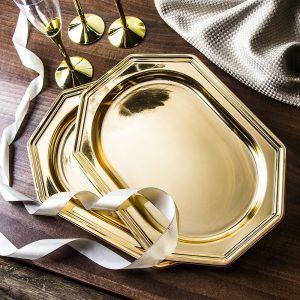 Półmiski plastikowe złote