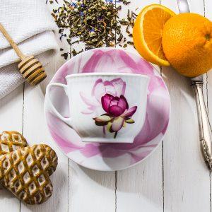 Filiżanka ze spodkiem do kawy i herbaty Lubiana Kwiat