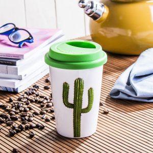 Kubek porcelanowy z pokrywką Duo Cactus