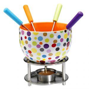 Zestaw do fondue ceramiczny Mastrad kropki