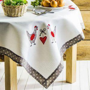 Obrus na stół poliestrowy wielkanocny Koguty