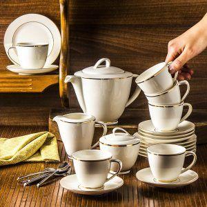 Serwis kawowy porcelanowy ecru